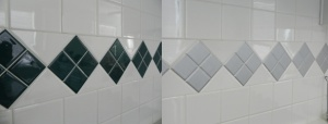 before and after painting backsplash